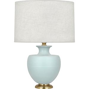 Michael Berman Atlas Matte Sky Blue Glazed Ceramic with Modern Brass Accents 25-Inch One-Light Table Lamp