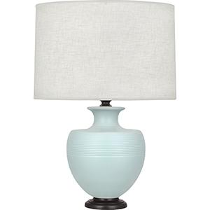 Michael Berman Atlas Matte Sky Blue Glazed Ceramic with Deep Patina Bronze Accents 25-Inch One-Light Table Lamp
