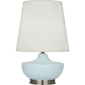 Michael Berman Nolan Matte Sky Blue Glazed Ceramic with Dark Antique Nickel Accents 28-Inch One-Light Table Lamp