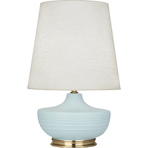 Michael Berman Nolan Matte Sky Blue Glazed Ceramic with Modern Brass Accents 28-Inch One-Light Table Lamp