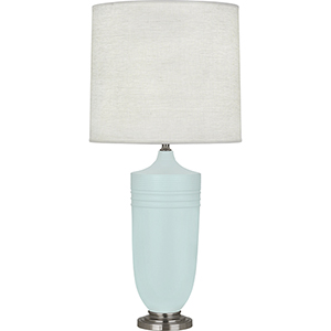 Michael Berman Hadrian Matte Sky Blue Glazed Ceramic with Dark Antique Nickel Accents 29-Inch One-Light Table Lamp