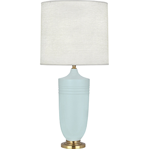 Michael Berman Hadrian Matte Sky Blue Glazed Ceramic with Modern Brass Accents 29-Inch One-Light Table Lamp