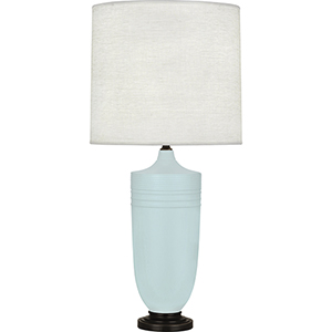 Michael Berman Hadrian Matte Sky Blue Glazed Ceramic with Deep Patina Bronze Accents 29-Inch One-Light Table Lamp