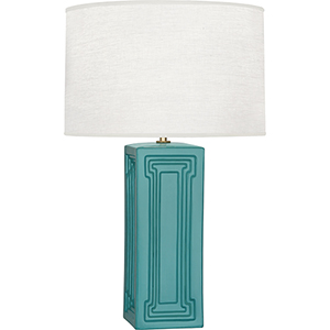 Williamsburg Nottingham Mayo Teal Glazed Ceramic with Modern Brass Accents 30-Inch One-Light Table Lamp