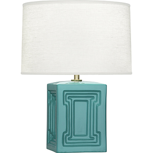 Williamsburg Nottingham Mayo Teal Glazed Ceramic with Modern Brass Accents 18-Inch One-Light Table Lamp