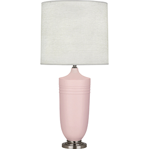Michael Berman Hadrian Matte Woodrose Glazed Ceramic with Dark Antique Nickel Accents 29-Inch One-Light Table Lamp