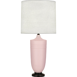 Michael Berman Hadrian Matte Woodrose Glazed Ceramic with Deep Patina Bronze Accents 29-Inch One-Light Table Lamp