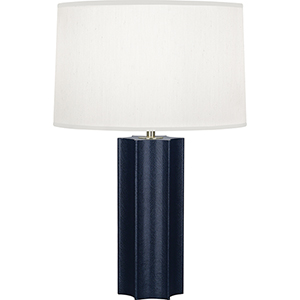 Anna Faux Navy Snakeskin Wrapped Base with Polished Brass Accents 26-Inch One-Light Table Lamp