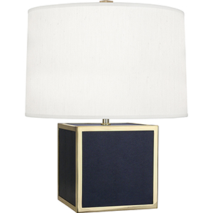 Anna Faux Navy Snakeskin Wrapped Base with Polished Brass Accents 20-Inch One-Light Table Lamp