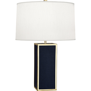 Anna Faux Navy Snakeskin Wrapped Base with Polished Brass Accents 29-Inch One-Light Table Lamp