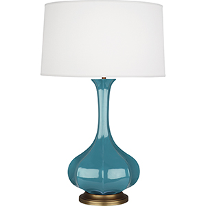 Pike Steel Blue Glazed Ceramic with Aged Brass Accents 32-Inch One-Light Table Lamp