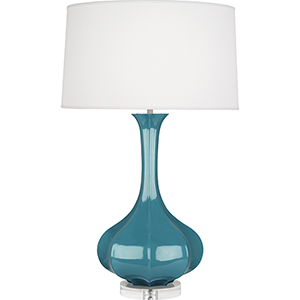 Pike Steel Blue Glazed Ceramic with Lucite Base 33-Inch One-Light Table Lamp