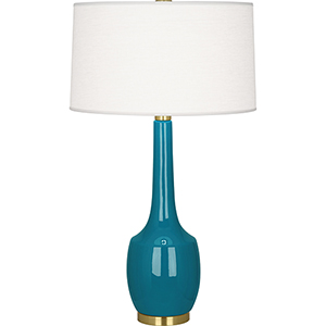 Delilah Peacock Glazed Ceramic 34-Inch One-Light Table Lamp
