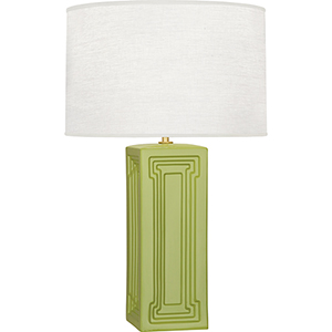 Williamsburg Nottingham Parrot Green Glazed Ceramic with Modern Brass Accents 30-Inch One-Light Table Lamp