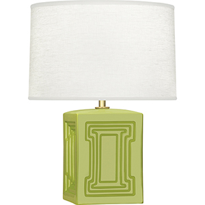 Williamsburg Nottingham Parrot Green Glazed Ceramic with Modern Brass Accents 18-Inch One-Light Table Lamp