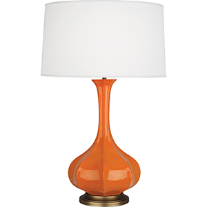 Pike Pumpkin Glazed Ceramic with Aged Brass Accents 32-Inch One-Light Table Lamp