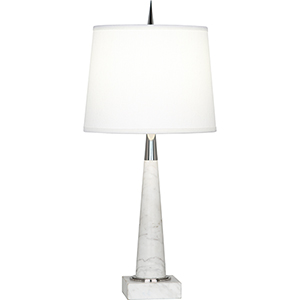 Florence Polished Nickel and White Marble 21-Inch One-Light Table Lamp