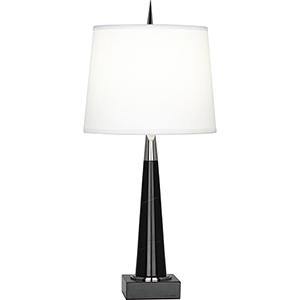 Florence Polished Nickel and Black Marble 21-Inch One-Light Table Lamp