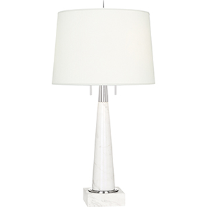 Florence Polished Nickel and White Marble 33-Inch Two-Light Table Lamp
