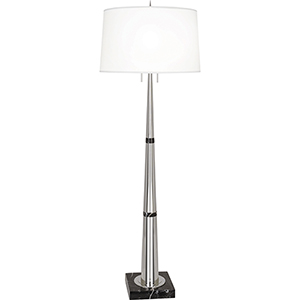 Florence Polished Nickel and Black Marble 63-Inch Two-Light Floor Lamp