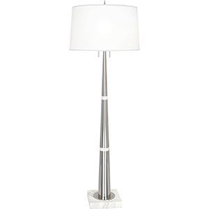 Florence Polished Nickel and White Marble 63-Inch Two-Light Floor Lamp