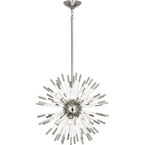 Andromeda Polished Nickel with Clear Acrylic Rods 20-Inch Eight-Light Chandelier