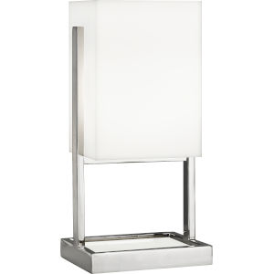 Nikole Polished Nickel and White Marble 13-Inch One-Light Table Lamp