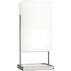 Nikole Polished Nickel and White Marble 28-Inch One-Light Table Lamp