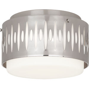 Treble Silver Three-Light Flushmount With White Frosted Glass Shade