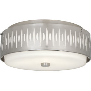 Treble Silver Four-Light Flushmount With White Frosted Glass Shade