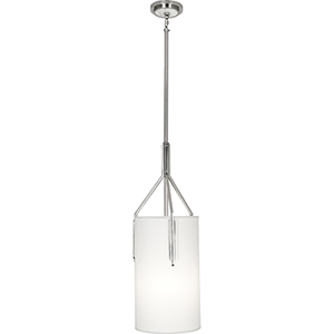 Empire Antique Silver with White Marble Accents 11-Inch One-Light Pendant