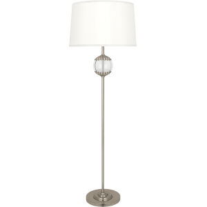 Williamsburg Polly Antique Silver One-Light Floor Lamp With White Silk