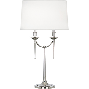 Cedric Polished Nickel 30-Inch Two-Light Table Lamp