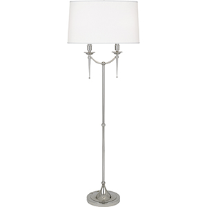Cedric Polished Nickel 58-Inch Two-Light Floor Lamp
