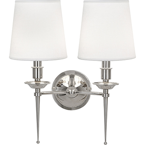 Cedric Polished Nickel  14-Inch Two-Light Wall Sconce