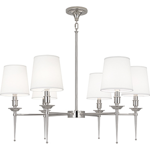 Cedric Polished Nickel  34-Inch Six-Light Chandelier