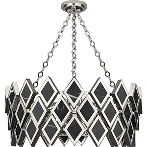 Edward Polished Nickel with Black Marble Accents 26-Inch Four-Light Chandelier