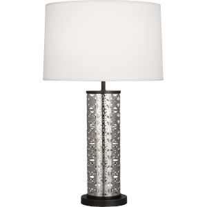 Williamsburg Etoile Silver One-Light Table Lamp With Pearl Dupioni Fabric Shade