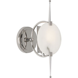 Jace Polished Nickel One-Light Wall Sconce With White Alabaster Disc