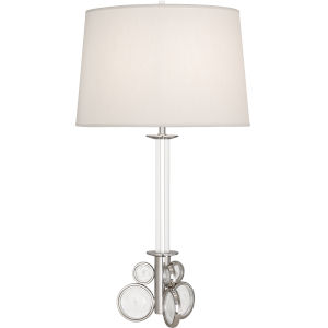 Atticus Polished Nickel One-Light Table Lamp With Pearl Dupioni Fabric Shade