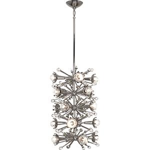 Jonathan Adler Sputnik Polished Nickel and Clear Crystal Accents 14-Inch 20-Light Pendant