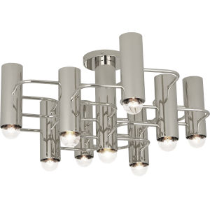 Jonathan Adler Milano Polished Nickel Nine-Light Flushmount
