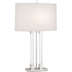 Plexus Polished Nickel One-Light Table Lamp With Pearl Dupioni Fabric Shade