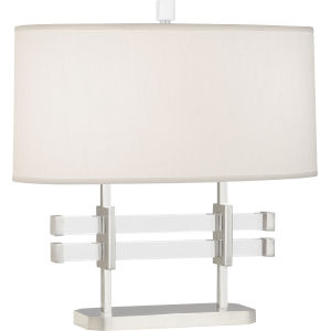 Plexus Polished Nickel Two-Light Table Lamp With Pearl Dupioni Fabric Shade