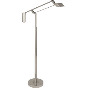 Heron Polished Nickel One-Light LED Floor Lamp With Metal Shade