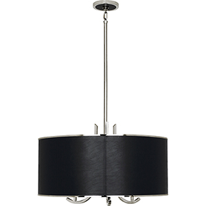 Francesco Polished Nickel with Black Leather 25-Inch Three-Light Pendant