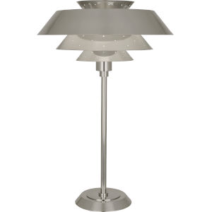 Pierce Antique Silver One-Light Table Lamp With Perforated Metal Shade