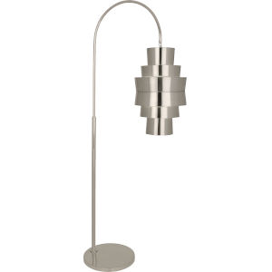 Pierce Antique Silver Two-Light Floor Lamp With Metal Shade