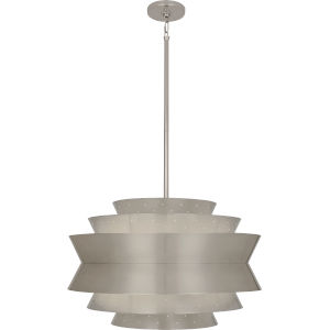 Pierce Antique Silver Three-Light Pendant With Perforated Metal Shade