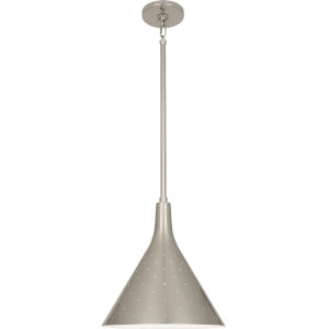 Pierce Antique Silver One-Light Pendant With Perforated Metal Shade